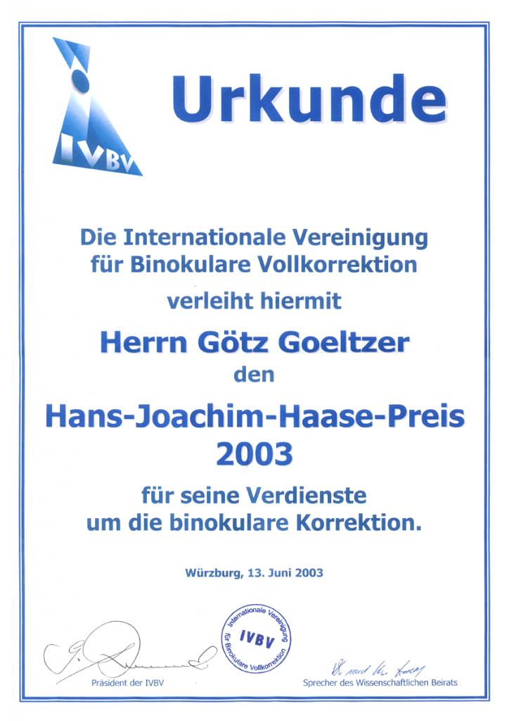 Urkunde Optiker Krauss